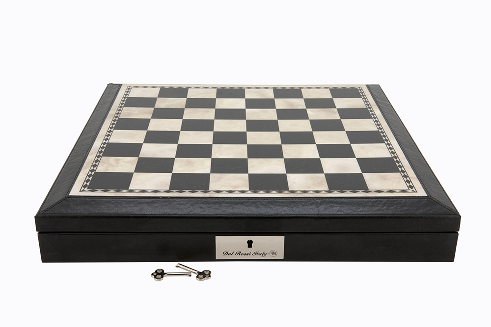 "Dal Rossi 16"" Chess Box Black and White with PU Leather Edge with compartments"