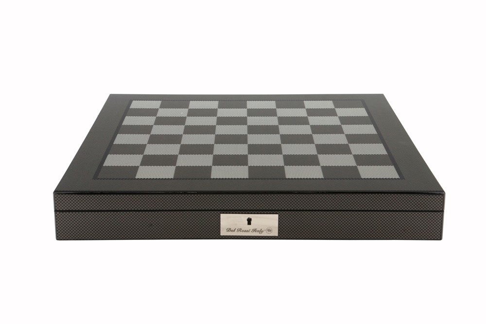 """Dal Rossi Italy Carbon Fibre Shiny Finish Chess Box 20"""" with compartments"""