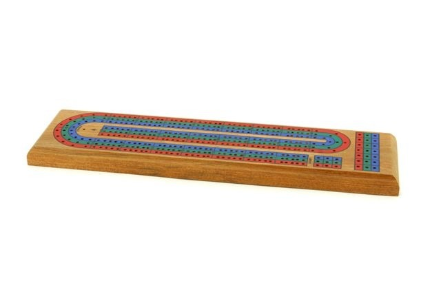 Cribbage board, 3 track, Coloured