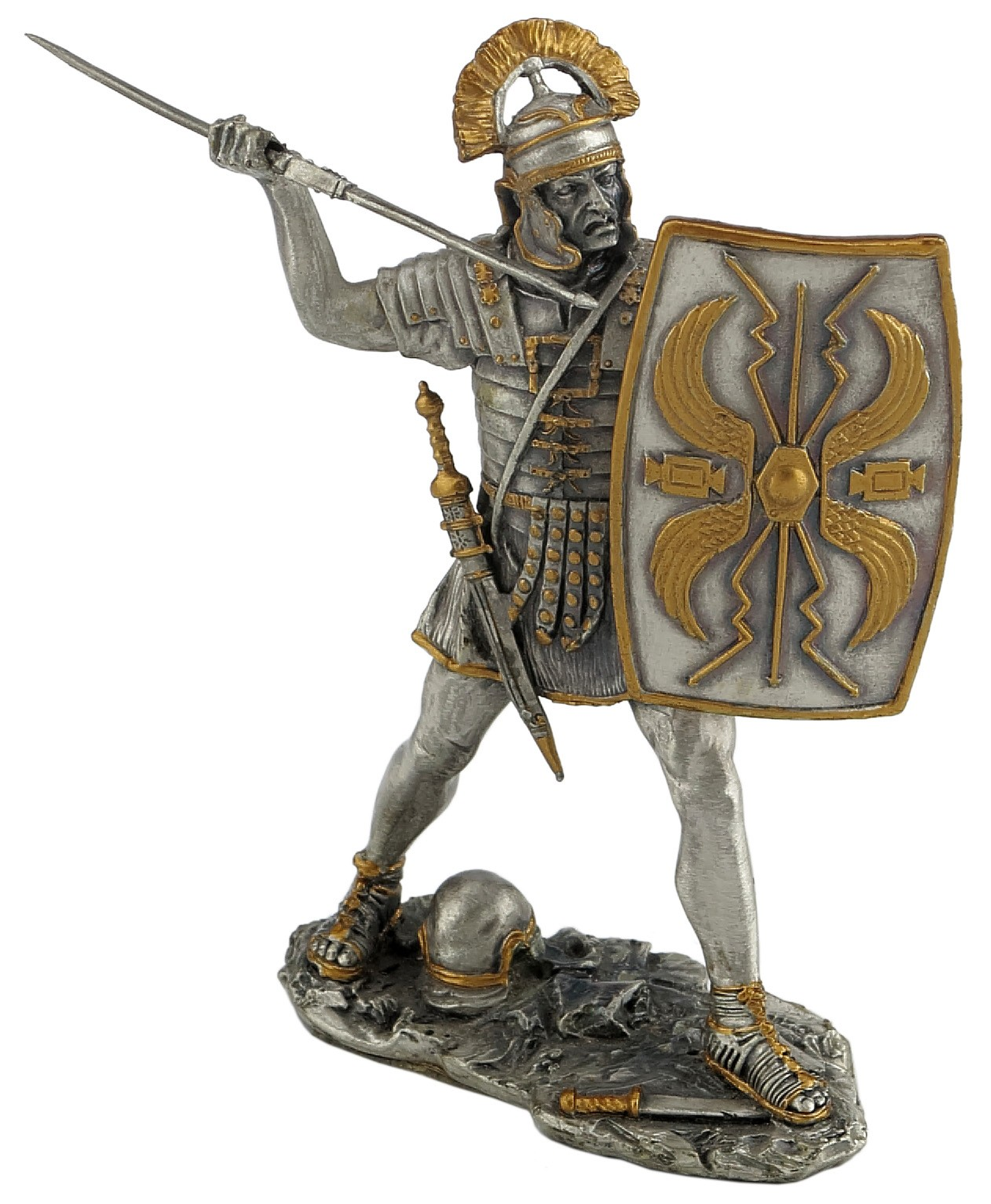 Dal Rossi Pewter MEDIEVAL WARRIOR - HOLDING SHIELD Pewter Figurines height from 110mm to 160mm