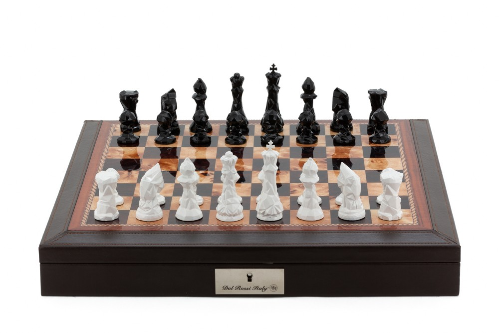 """Dal Rossi Italy Brown PU Leather Bevelled Edge chess box with compartments 18"""" with Diamond-Cut Black & White Finish Chessmen"""
