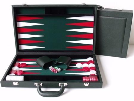 "Dal Rossi Green Backgammon 18"" PU Leather"