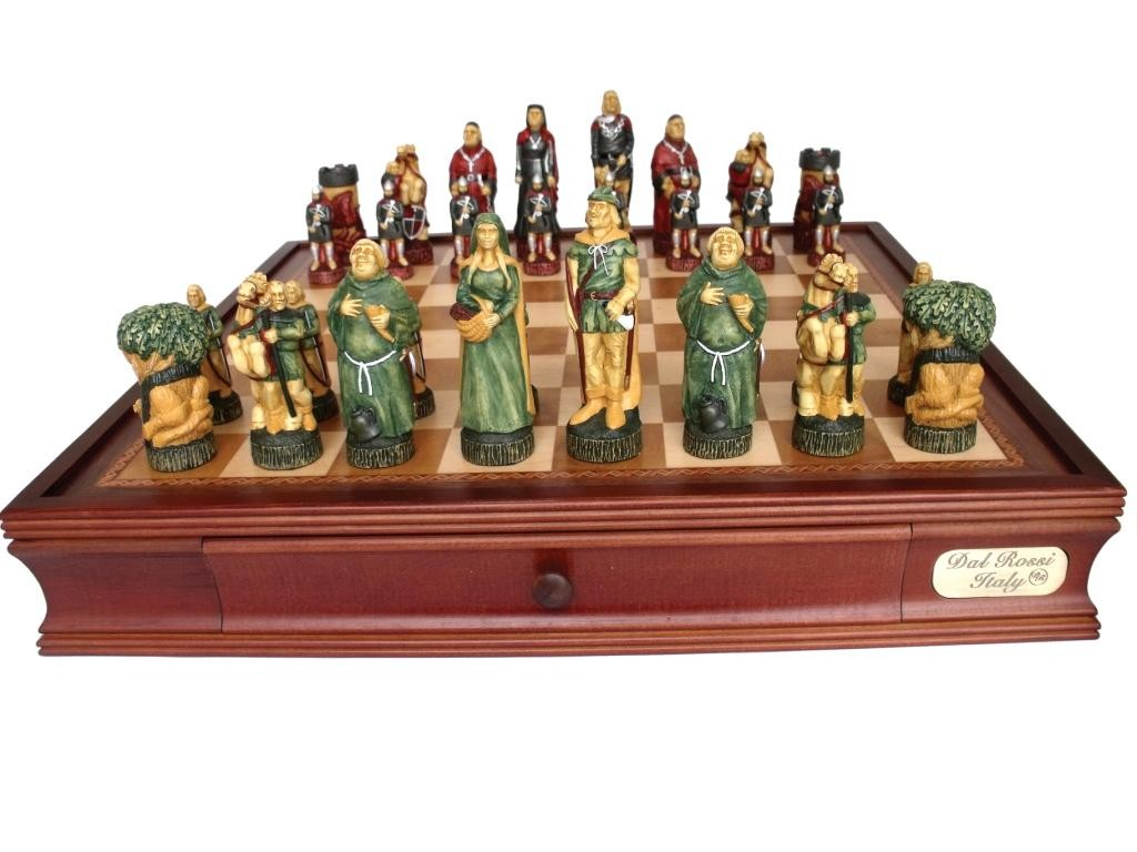 """Dal Rossi Italy Robin Hood Chess Set with Drawers 20"""""""