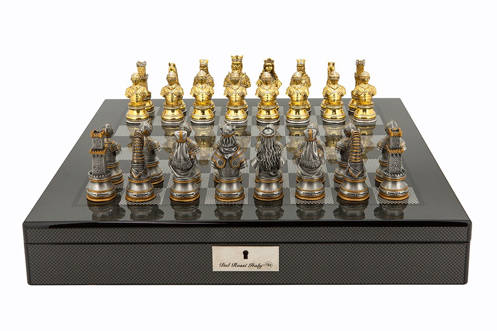 "Dal Rossi Italy Medieval Warrior Chess Set on Carbon Fibre Shiny Finish Chess Box 20"" with compartments"