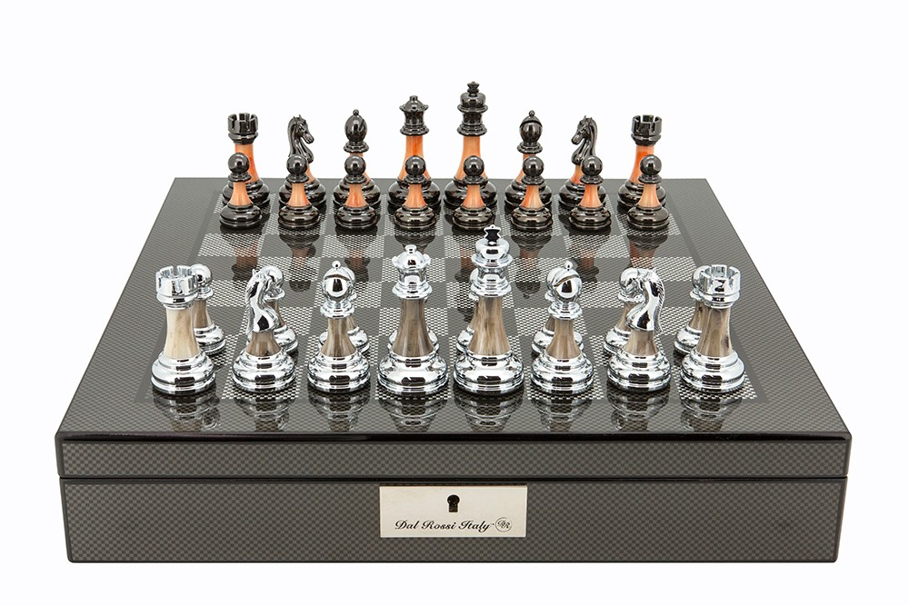 """Dal Rossi Italy Carbon Fibre Shiny Finish Chess Box 16"""" with Metal Marble Chess Pieces"""
