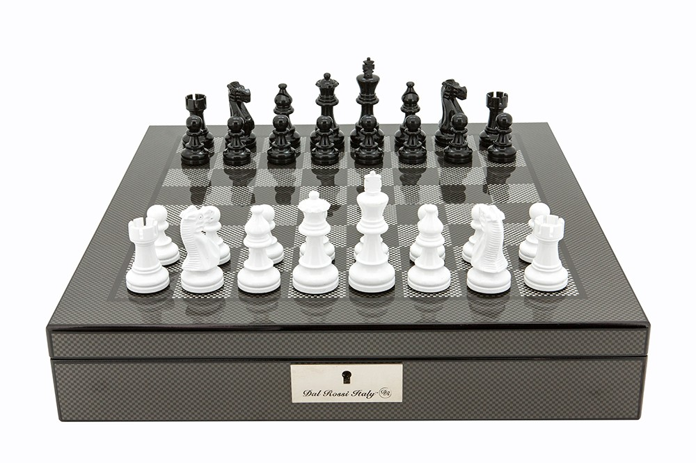 """Dal Rossi Italy Carbon Fibre Shiny Finish Chess Box 16"""" with Black and White Chess Pieces"""
