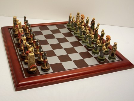 "Hand Paint Chess Set - ""Crusaders"" Theme with 75mm pieces, 45cm With Board"