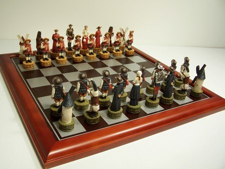Hand Painted Theme Polyresin Chess - Don Quixote Chess pieces 75mm pieces, Board Not Include