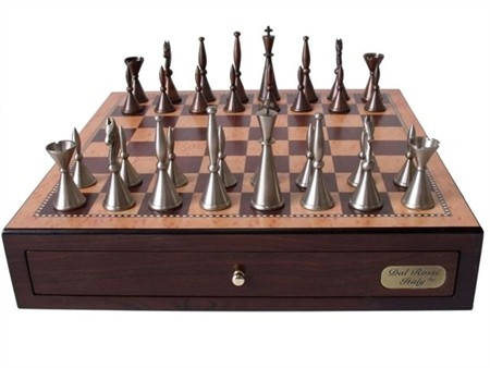 "Dal Rossi Staunton Metal Chess Set with Drawers 18"" (Walnut Finish)"