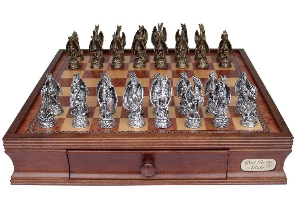 Dal rossi italy mystical dragon chess set pewter 95mm on dal rossi 40cm chess box puzzles - The chessmen chess set ...