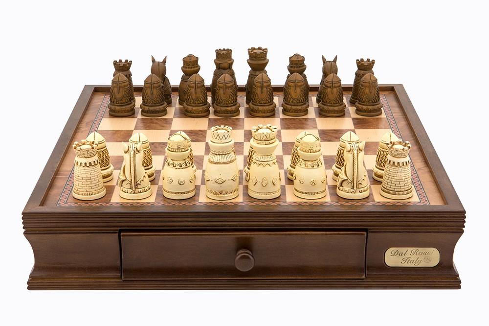 """Dal Rossi Chess/check, box/board, medieval, walnut, 16"""""""