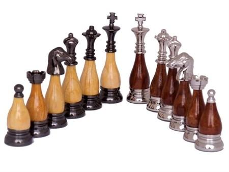 Dal Rossi Italy, Staunton Metal/Wood Chessmen