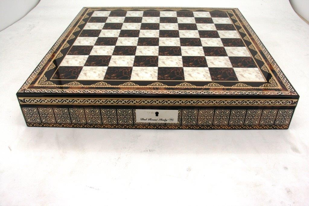 "Dal Rossi Italy Chess Box Mosaic Finish 20"" with compartments"