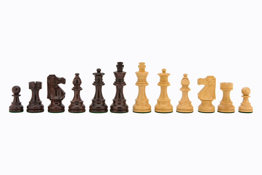 """Chess Pieces - French lardy, Boxwood/Sheesham85mm Wood Double Weighted"""""""