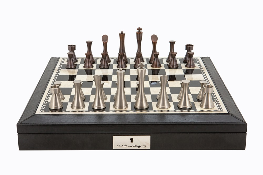 """Dal Rossi Italy Black PU Leather Bevilled Edge chess box with compartments 18"""" with Contemporary Metal Chessmen"""