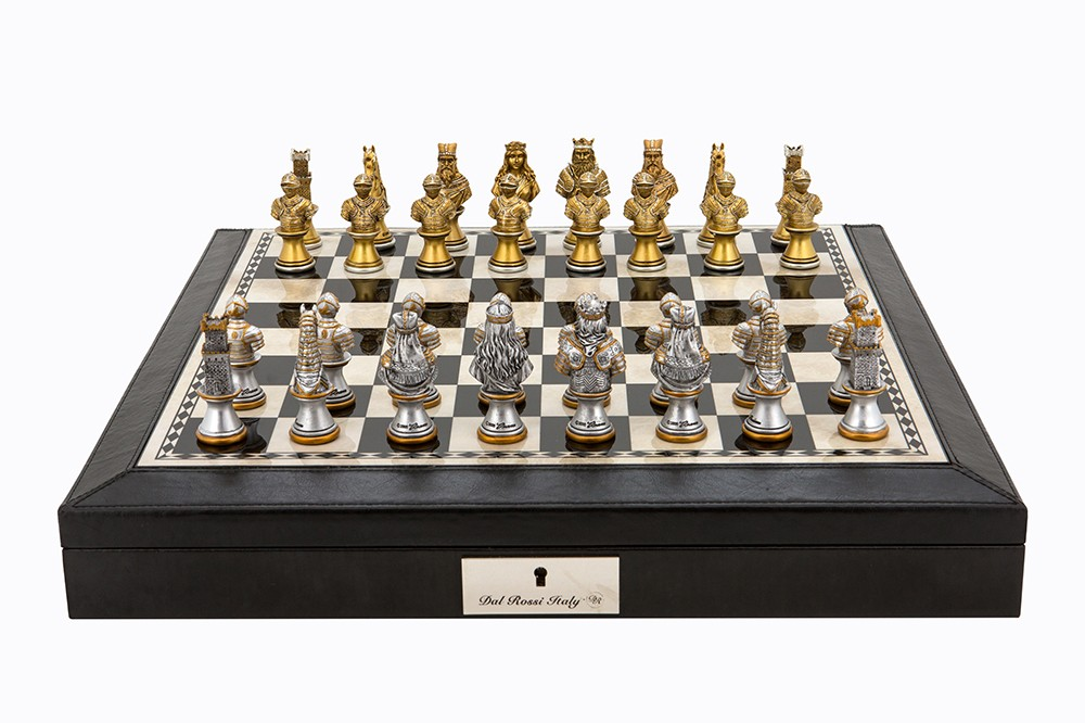 """Dal Rossi Italy Black PU Leather Bevilled Edge chess box with compartments 18"""" with Medieval Warriors Resin Chessmen"""