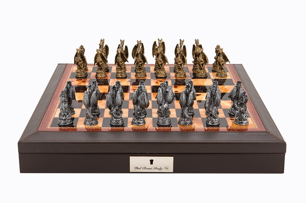 """Dal Rossi Italy Brown PU Leather Bevilled Edge chess box with compartments 18"""" with Dragon Pewter Chessmen"""
