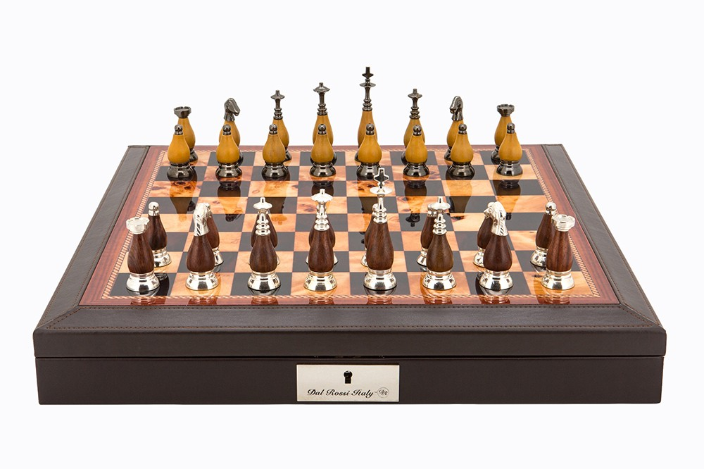 "Dal Rossi Italy Brown PU Leather Bevilled Edge chess box with compartments 18"" with Staunton Metal/Wood Chessmen"