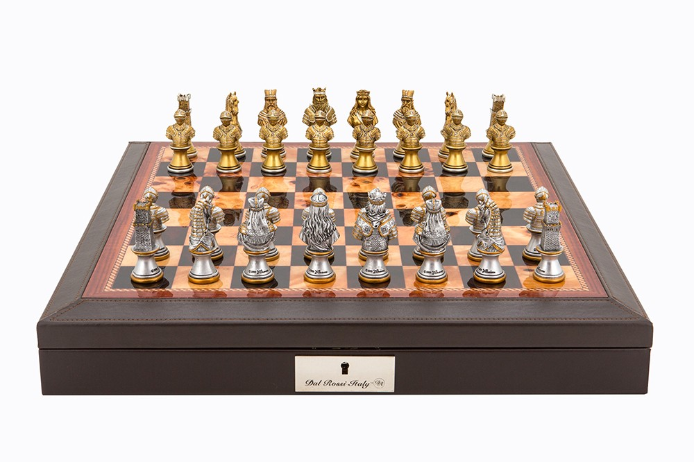 "Dal Rossi Italy Brown PU Leather Bevilled Edge chess box with compartments 18"" with Medieval Warriors Resin Chessmen"