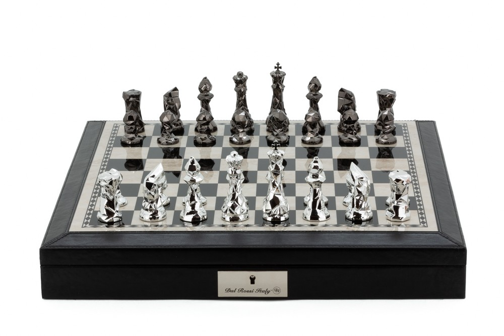 """Dal Rossi Italy Black PU Leather Bevelled Edge chess box with compartments 18"""" with Diamond-Cut Titanium & Silver Finish Chessmen"""