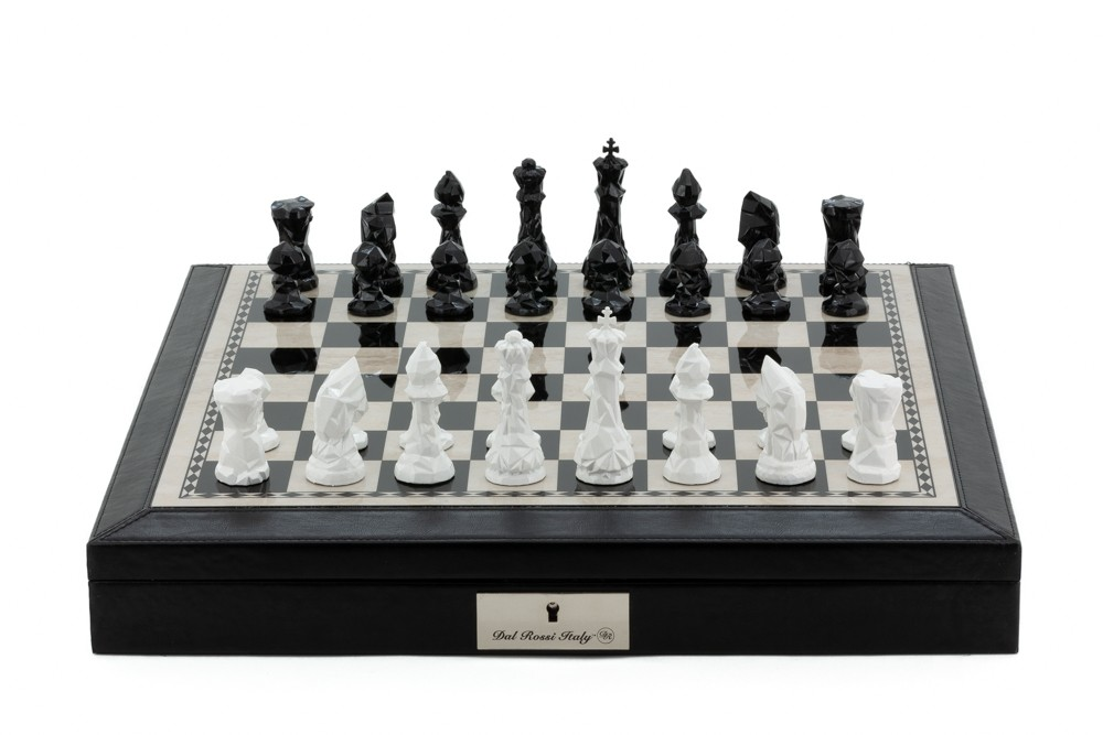 "Dal Rossi Italy Black PU Leather Bevelled Edge chess box with compartments 18"" with Diamond-Cut Black & White Finish Chessmen"
