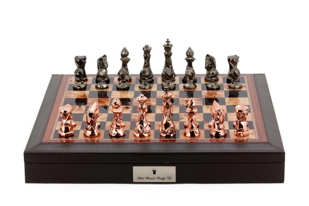 """Dal Rossi Italy Brown PU Leather Bevelled Edge chess box with compartments 18"""" with Diamond-Cut Copper & Bronze Finish Chessmen"""
