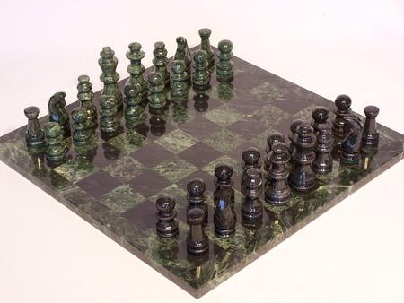 "Chess set, marble, green/black, green edge,16 Marble, Glass, Onyx"""