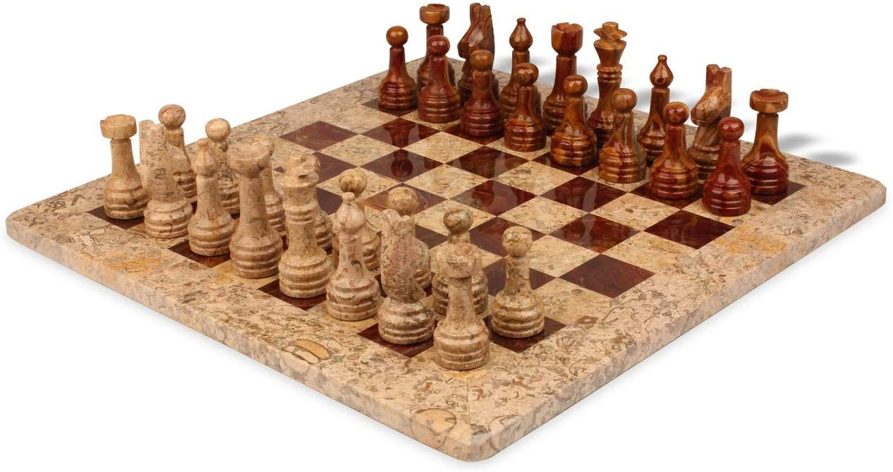 "Chess set, Onyx, 16"" Fossil / Red"