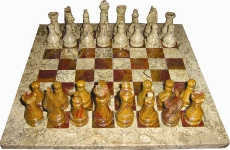 """Chess set, Onyx, 16"""" Fossil / Red"""