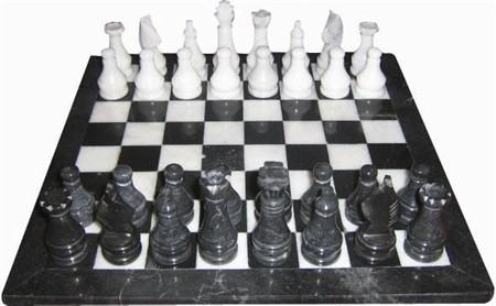 "Chess set, Onyx, Black/White, 16"""