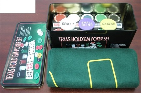 Texas Holding Chip Set - Texas Holding 200 Chip poker Set with mat