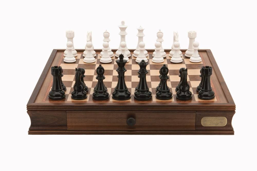 """Dal Rossi Italy Chess Set 20"""", With Black & White Weighted Chess Pieces 101mm pieces"""