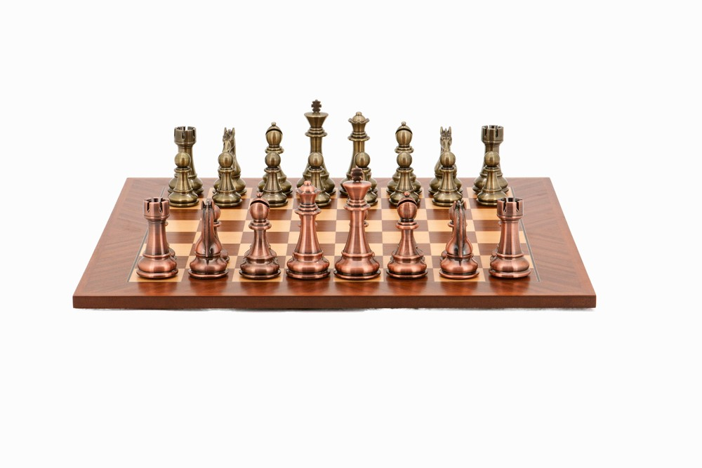Dal Rossi Italy Chess Set, 50cm Board With Bronze and Copper Weighted Chess Pieces (101mm)