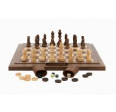 Dal Rossi Chess / Checkers / Backgammon,folding walnut, 16""