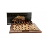 Dal Rossi Chess Set  walnut folding bevelled edge, with handle, 16""