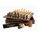 Dal Rossi Chess /Checkers / Backgammon, walnut, flip top board, 14""