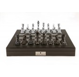 "Dal Rossi Italy Silver/Titanium Chess Set on Carbon Fibre Shiny Finish Chess Box 20"" with compartments"