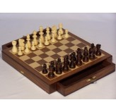 Chess set, magnetic, with drawers, walnut, 10