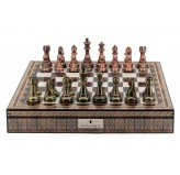 "Dal Rossi Italy Copper / Bronze Chess Set on Mosaic Finish Chess Box 20"" with compartments"