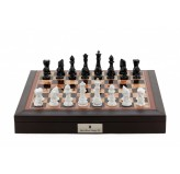 "Dal Rossi Italy Brown PU Leather Bevelled Edge chess box with compartments 18"" with Diamond-Cut Black & White Finish Chessmen"