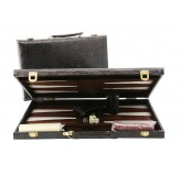 Backgammon, black alligator skin 18""