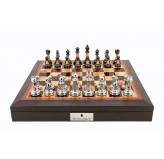 "Dal Rossi 16"" Chess Set Walnut Finish Chess Set with PU Leather Edge with compartments and Metal / Marble Finish Chess Pieces"
