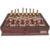 Dal Rossi Italy Staunton Metal/Wood Chess Set with Drawers 16""