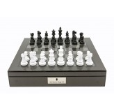 "Dal Rossi Italy Carbon Fibre Shiny Finish Chess Box 16"" with Black and White Chess Pieces"