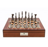 "Dal Rossi Chess set  Staunton Metal Walnut Finish Chess Box 16"" with compartments"