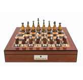 "Dal Rossi Staunton Metal Wood Chess set Walnut Finish Chess Box 16"" with compartments"
