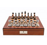 "Dal Rossi  Metal / Marble Finish Chess set Walnut Finish Chess Box 16"" with compartments"