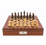 "Dal Rossi Italy Staunton Wooden 85mm Chess Pieces on Walnut Shiny Finish Chess Box 16"" with compartments"