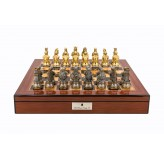 "Dal Rossi Italy Medieval Warrior Chess Set on Walnut Finish Chess Box 20"" with compartments"