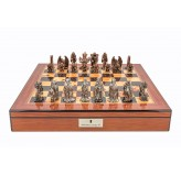 "Dal Rossi Italy Ring Metal Chess Set on Walnut Shiny Finish Chess Box 20"" with compartments"